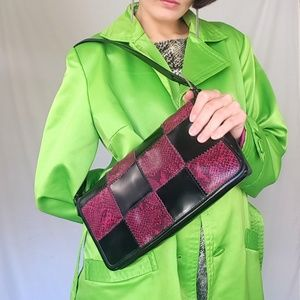 90's checkered faux snakeskin purse